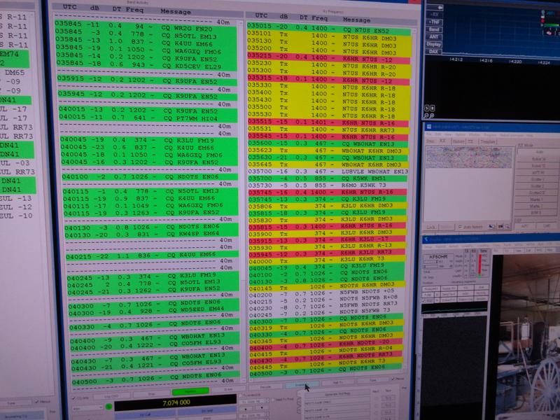 FT8 activity via WSJT-X
